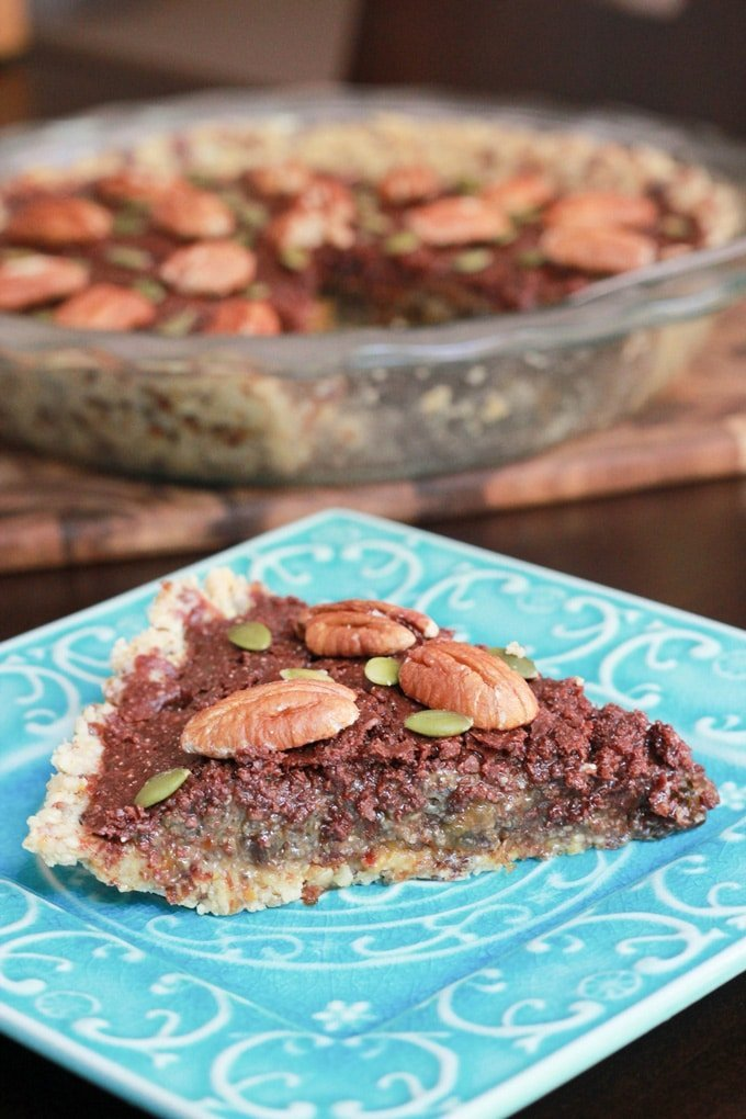 This chocolate chia pecan pie is seriously tasty raw dessert