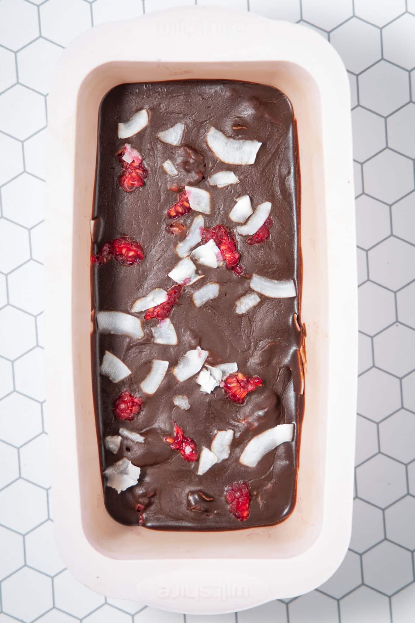 photo of raspberry ripe that has set in the freezer