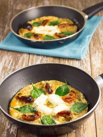 This Frittata is super easy to make and you can change it up by adding different toppings.
