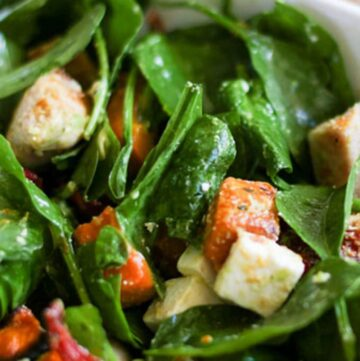 This warm chicken salad is one of my go-to meals