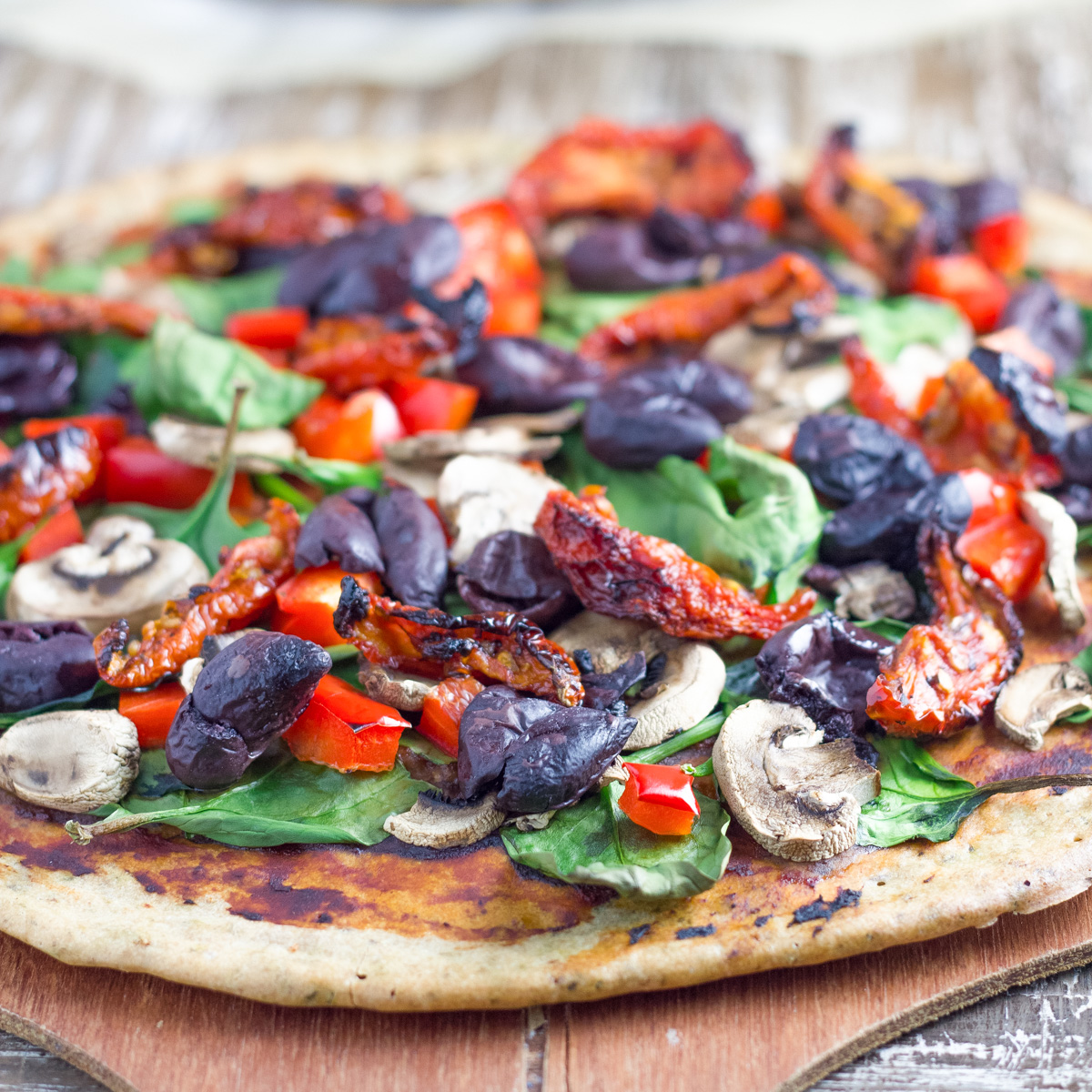 photo of buckwheat pizza on a tray