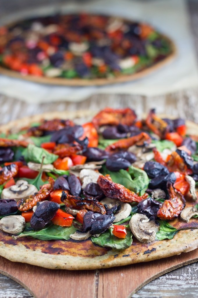 Buckwheat Pizza is my go-to pizza recipe! It is easy to prepare, no rising is needed, choose your toppings and enjoy!