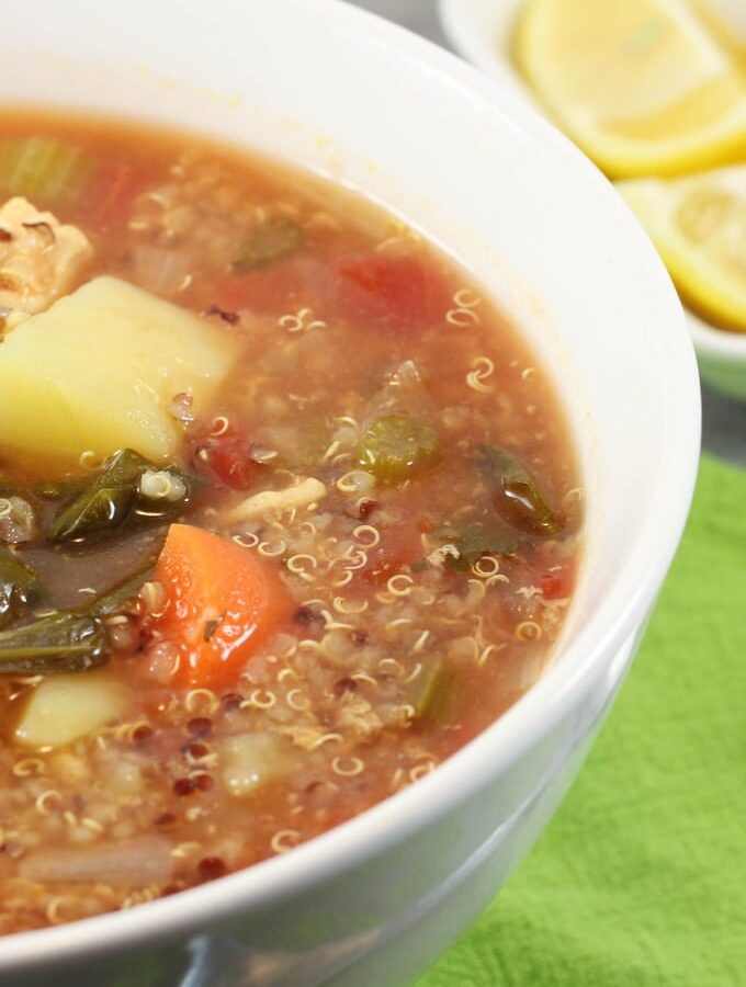 This chicken & vegetable soup with quinoa is a family favourite and it is super healthy. Perfect for cooler months