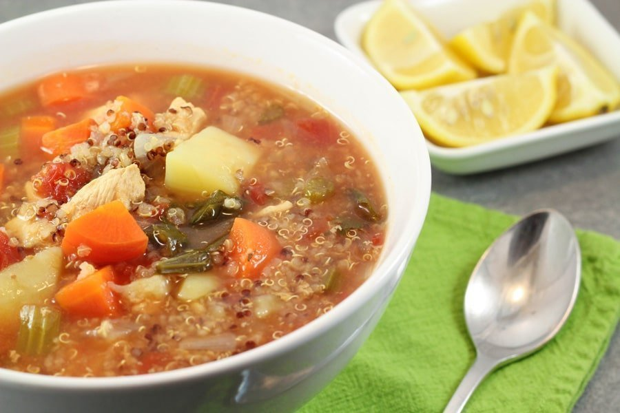 Chicken & Vegetable Soup with Quinoa and Lemon