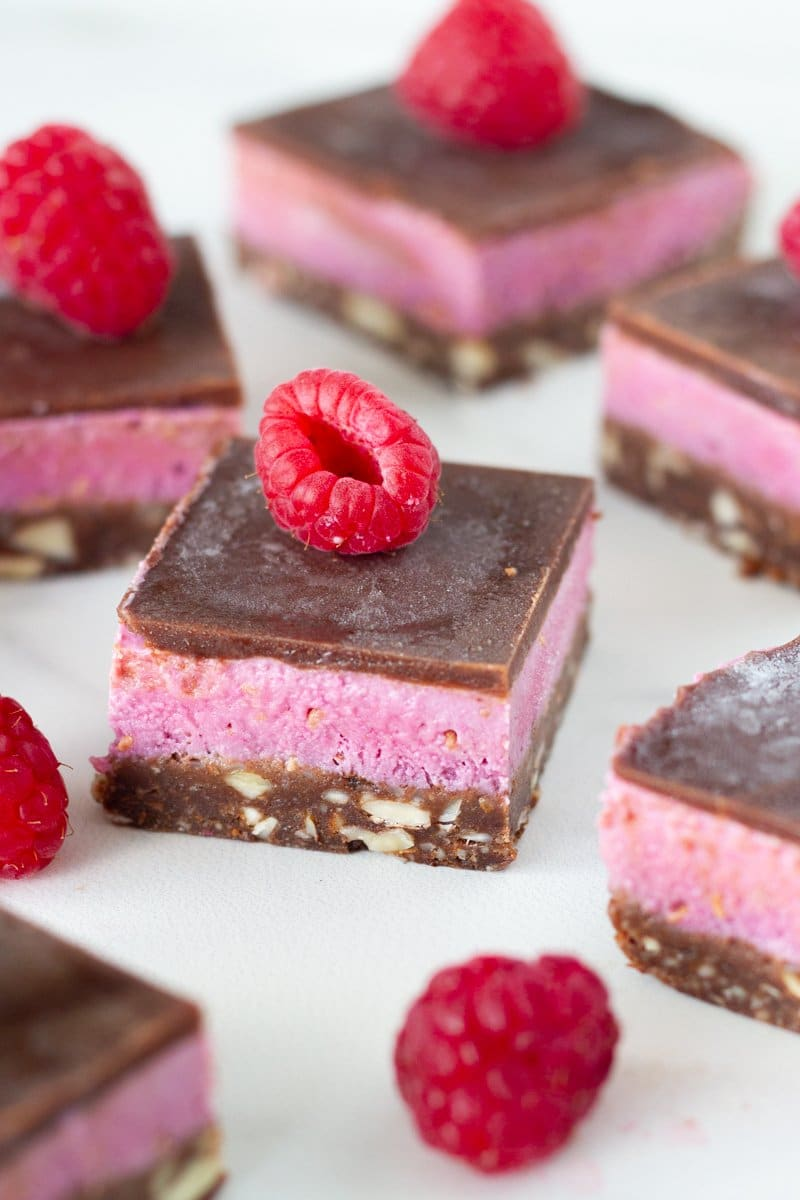 How the raw chocolate raspberry slice looks when finished