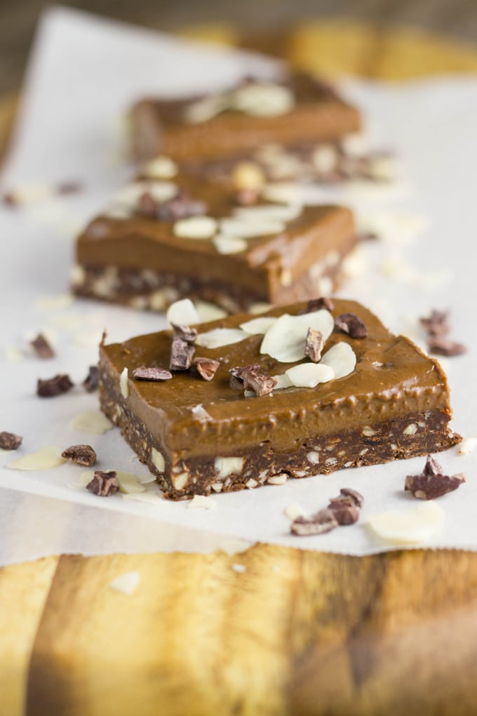 This Raw Chocolate Mousse Brownie slice is pure chocolate heaven and you don't have to feel guilty if you decide to eat an extra piece, which just might happen!   becomingness.com.au #rawdessert #glutenfree #dairyfree #healthyeating