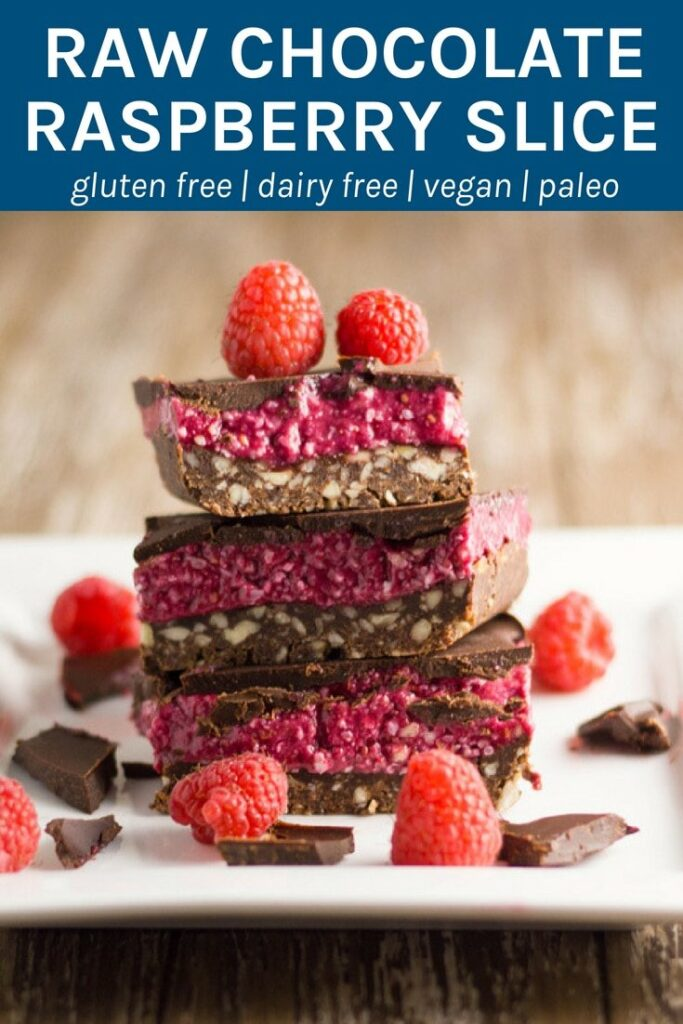 The layers of this raw chocolate raspberry slice work so well together; the chocolate nut base has the perfect crunch to it, the raspberry layer is soft and sweet and the chocolate layer will leave you wanting more. Thermomix method also included
