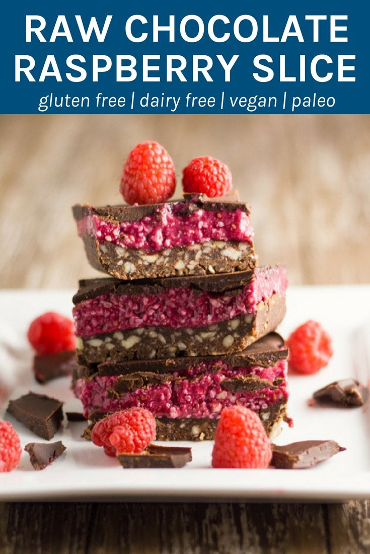 The layers of this raw chocolate raspberry slice work so well together; the chocolate nut base has the perfect crunch to it, the raspberry layer is soft and sweet and the chocolate layer will leave you wanting more. Thermomix method also included #rawdessert #glutenfree #dairyfree #healthyeating #refinedsugarfree | becomingness.com.au