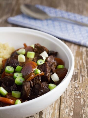Slow Cooker Mongolian Beef. My healthy version of the super popular dish which is gluten & dairy and full of flavour.