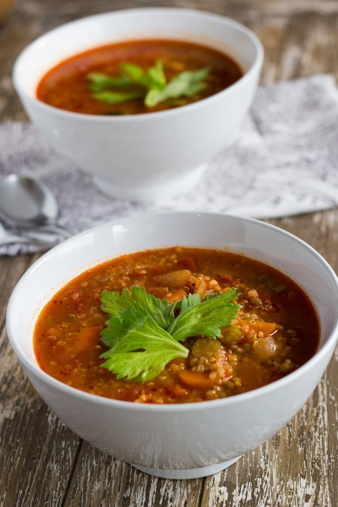 Vegetable & Lentil Soup is a traditional winter warming soup that is packed full of super healthy ingredients.