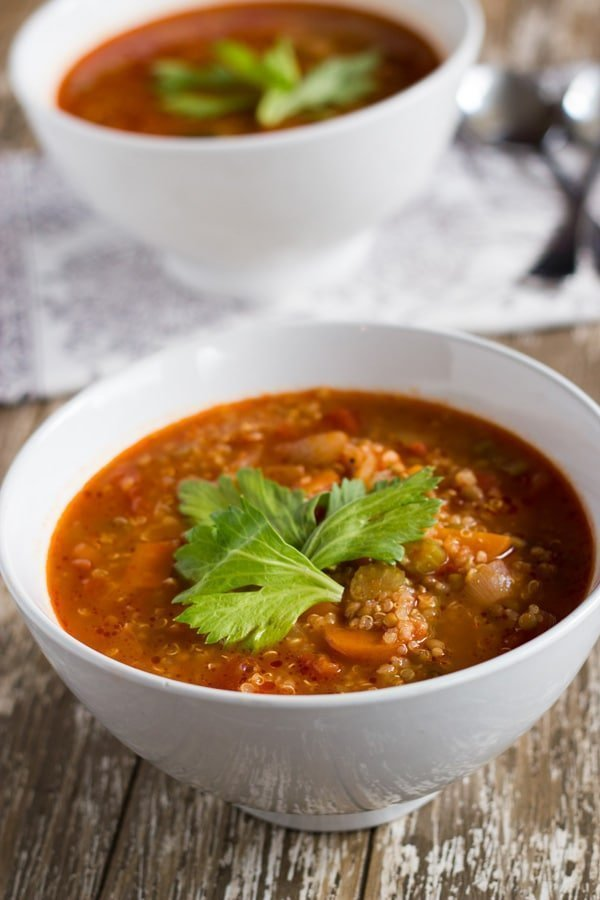 Vegetable & Lentil Soup. A traditional winter warming soup.