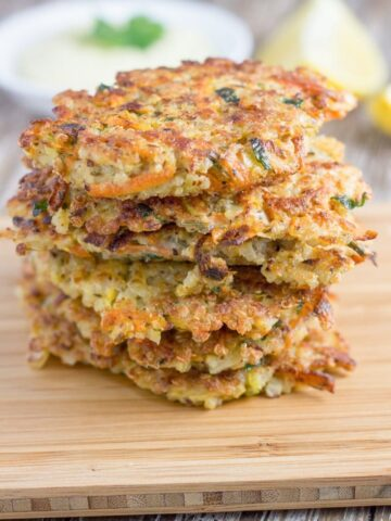 Quinoa Fritters. These make for a great appetizer or a light meal and are gluten and dairy free.