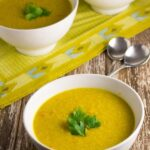 Red Lentil & Quinoa Soup. One of my favourite soups from my childhood. It is the perfect soup for winter and is packed full of healthy ingredients. Thermomix version