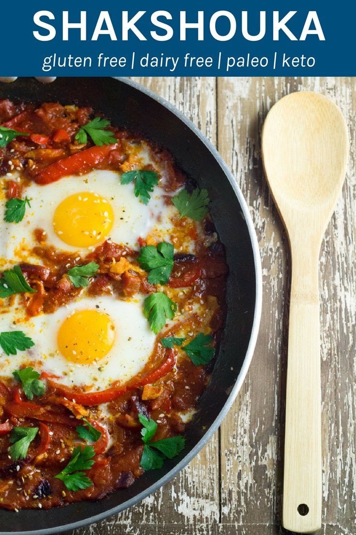 Shakshouka. Eggs poached in a tomato sauce with chilli peppers, onions and spices. YUMMY!