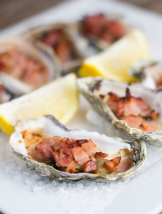 Oysters Kilpatrick made with a healthy Worcestershire Sauce.