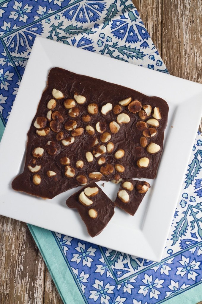 Macadamia Chocolate Bark. Takes around 5 minutes to prepare and less than 30 minutes to set.