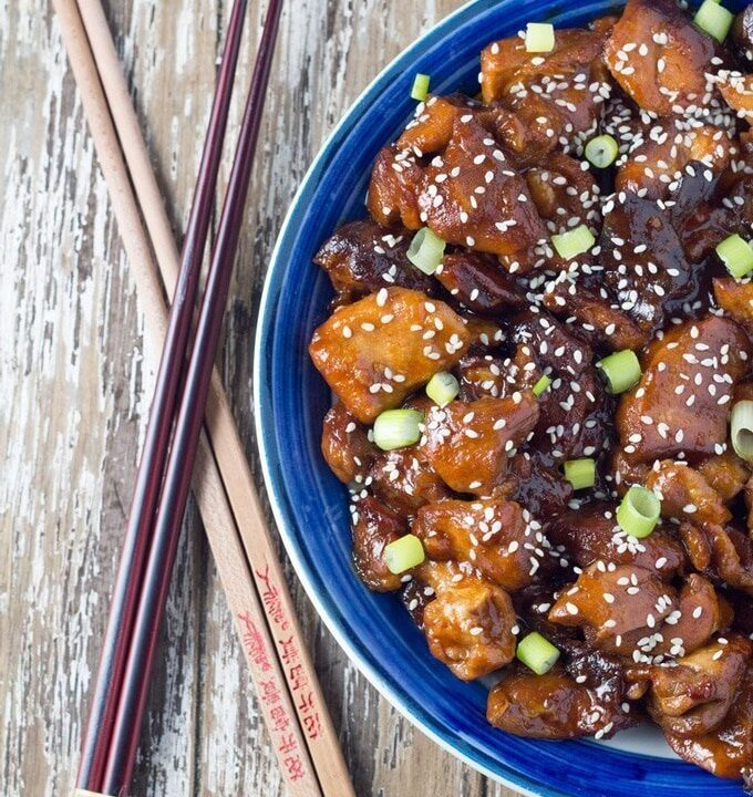 a photo of the Slow Cooker Honey Chicken when ready to eat