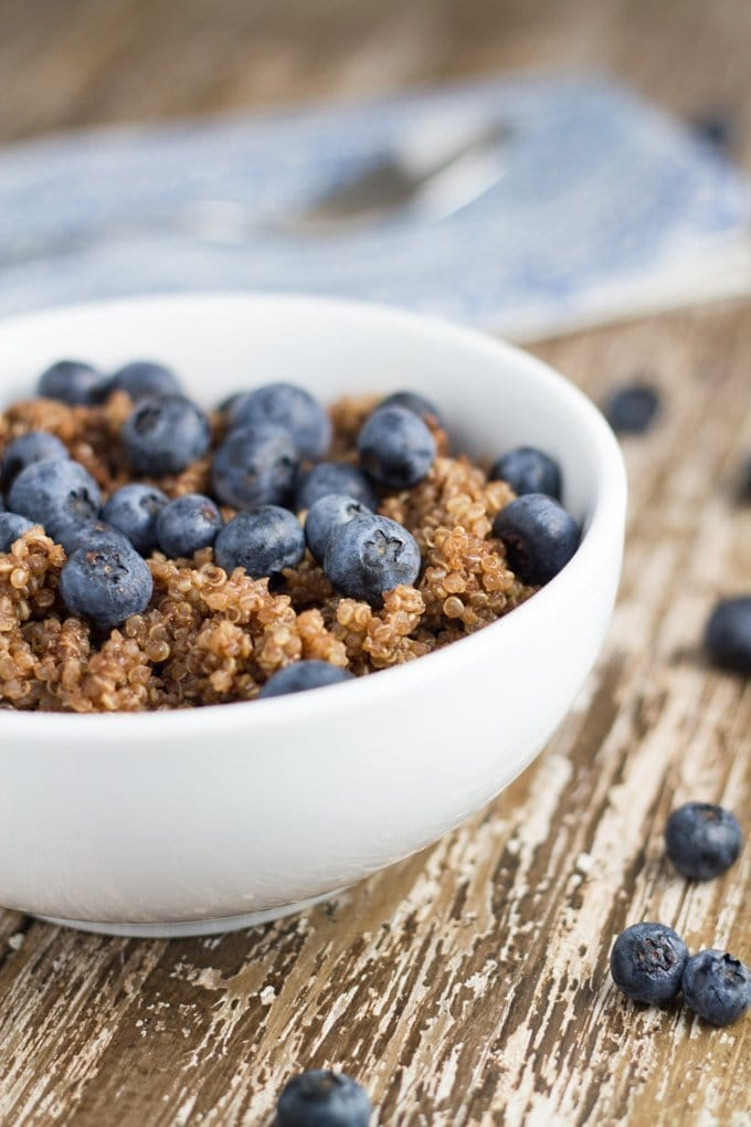 Chocolate & Blueberry Breakfast Quinoa. The sweetness from the chocolate, combined with the tartness from the blueberries is a match made in heaven.