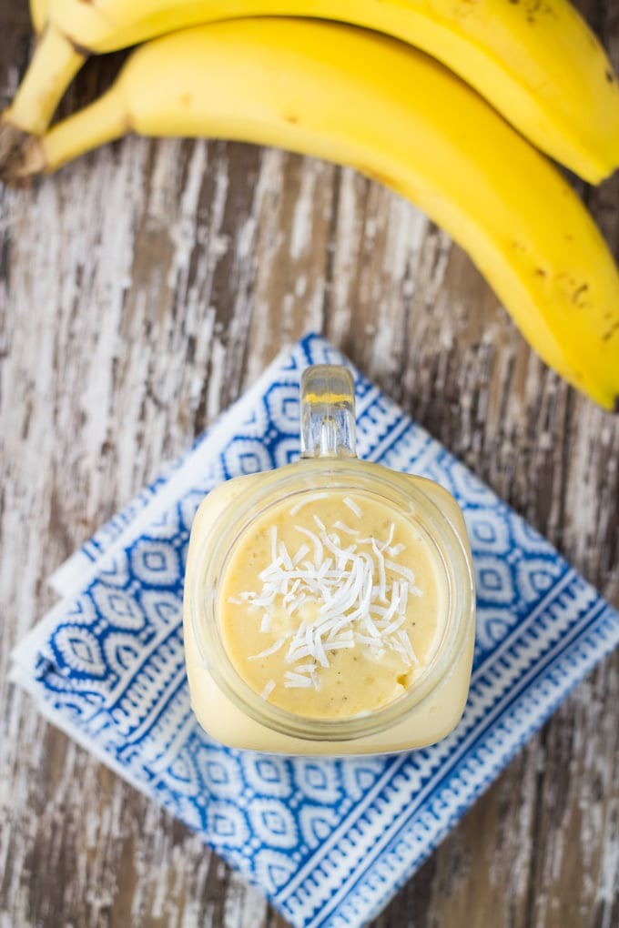 Coconut, Mango & Banana Smoothie. This smoothie is so creamy and delicious and best of all it is dairy and nut free.
