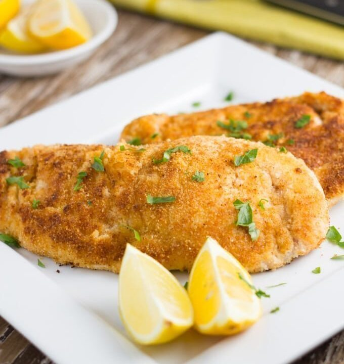 Gluten Free Chicken Schnitzel. You would never know that it was gluten free! The crumb is made of almond meal and is so delicious!