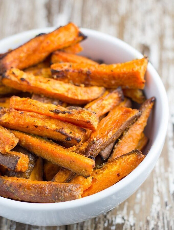 Baked Garlic Butter Sweet Potato Fries
