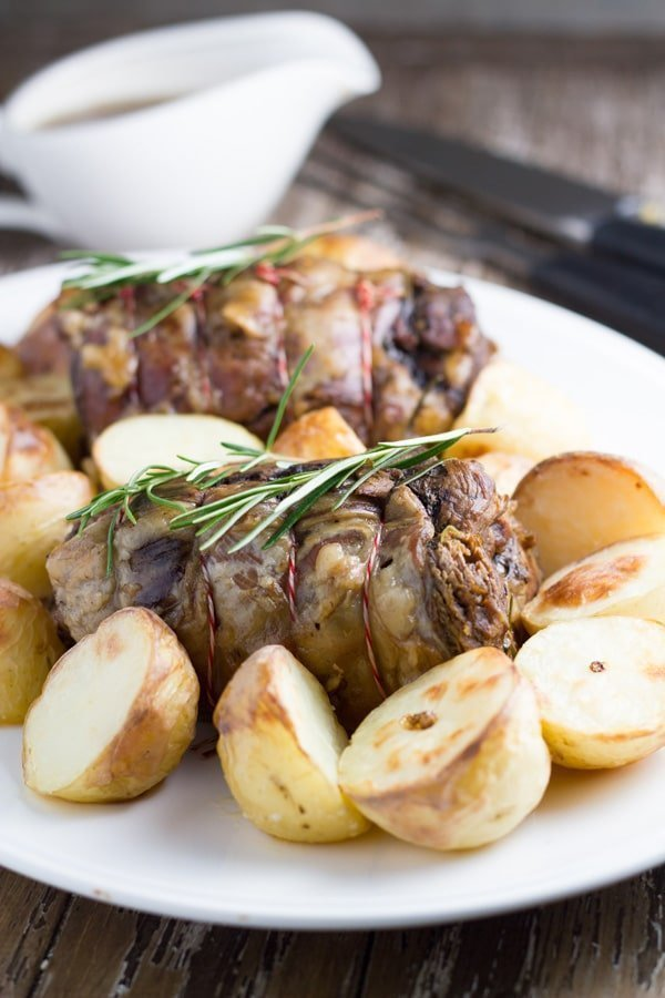 Slow Cooker Roast Lamb with Oven-Roasted Potatoes. This is a family favourite meal.