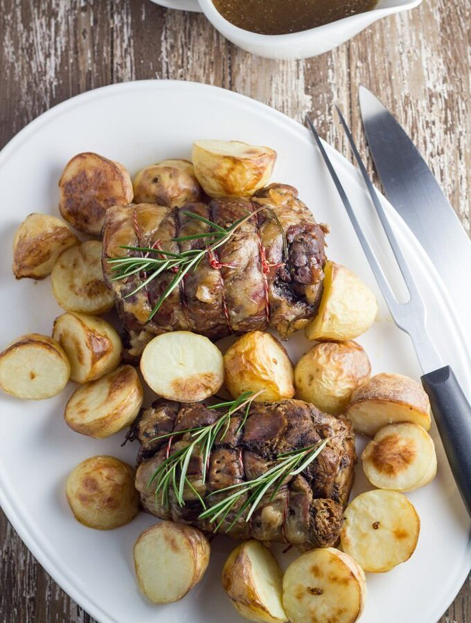 Slow Cooker Roast Lamb with Oven-Roasted Potatoes
