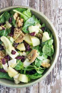 Apple, Avocado, Cranberry & Walnut Salad. 4 amazing ingredients that come together so beautifully in this salad. It is the perfect salad to have over the holiday season