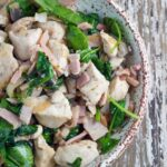Warm Spinach Salad with Chicken, Bacon & Mushroom. One of my favourite recipes from Against All Grain: Delectable Paleo Recipes by Danielle Walker.