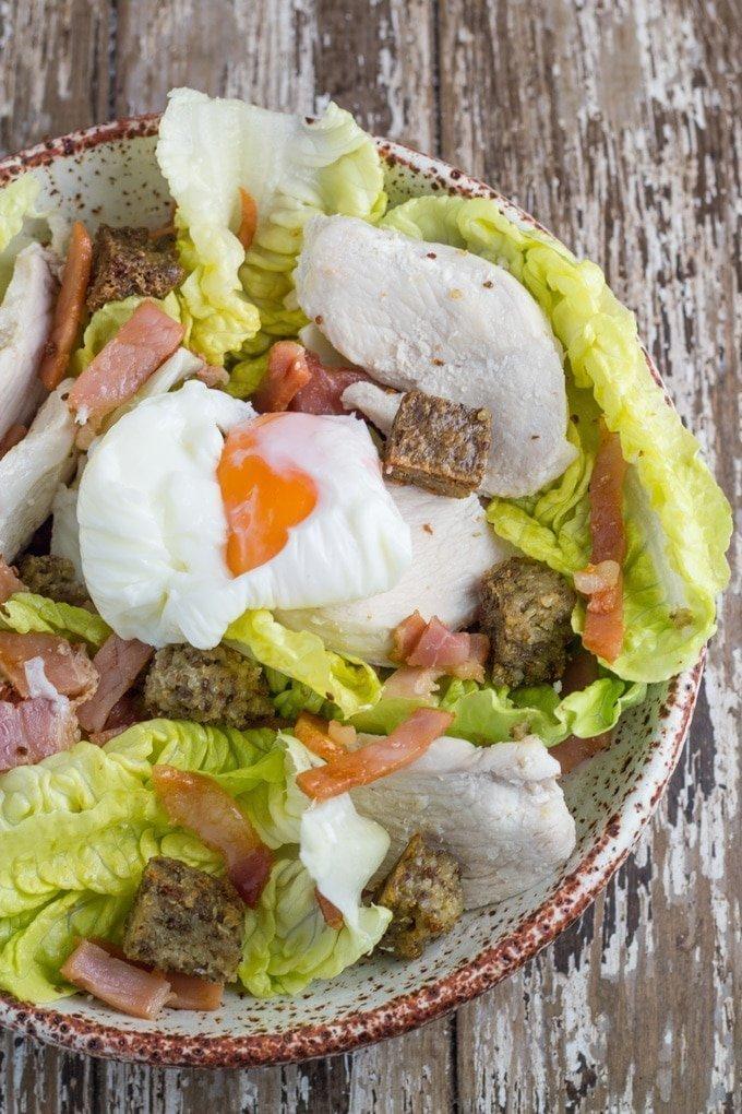 Chicken Caesar Salad with Gluten Free Croutons. One of my favourite salads now much healthier!!