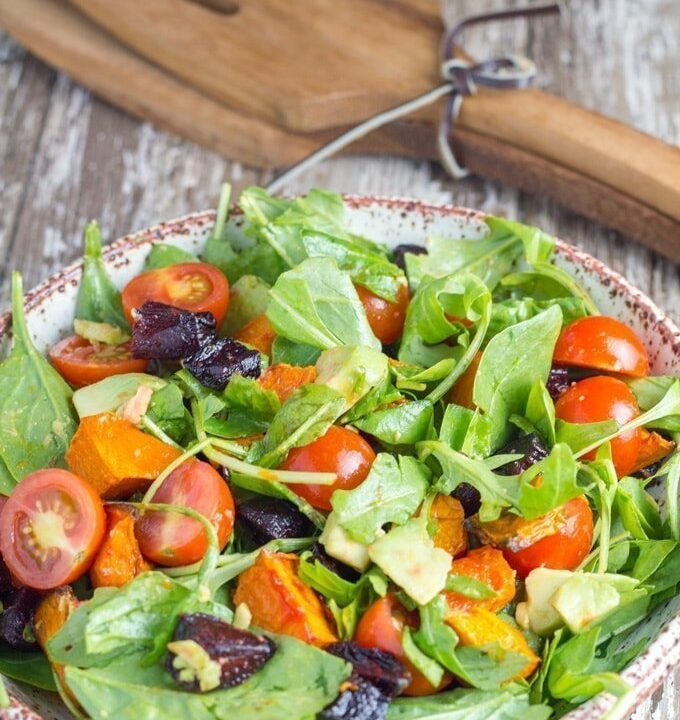 Pumpkin, Beetroot & Avocado Salad. Packed full of amazing flavour and can either be eaten on its own or as part of a meal. Enjoy!