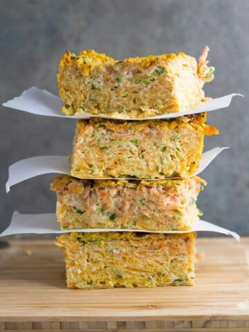 Zucchini & Sweet Potato Slice. Make this gluten & dairy free slice in bulk so you have extra for the week. This slice tastes delicious either hot or cold