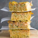 Zucchini & Sweet Potato Slice. Make in bulk so you have extra lunches for the week. This slice tastes delicious either hot or cold.