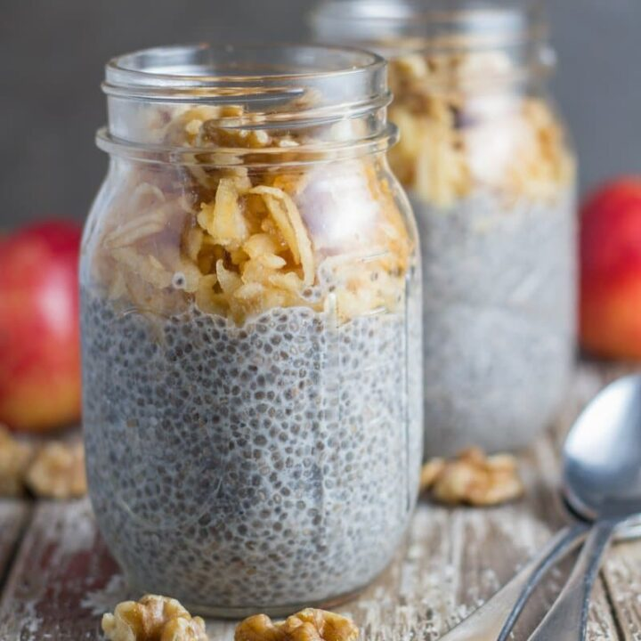 how the Apple & Walnut Breakfast Chia Pudding looks when ready to eat