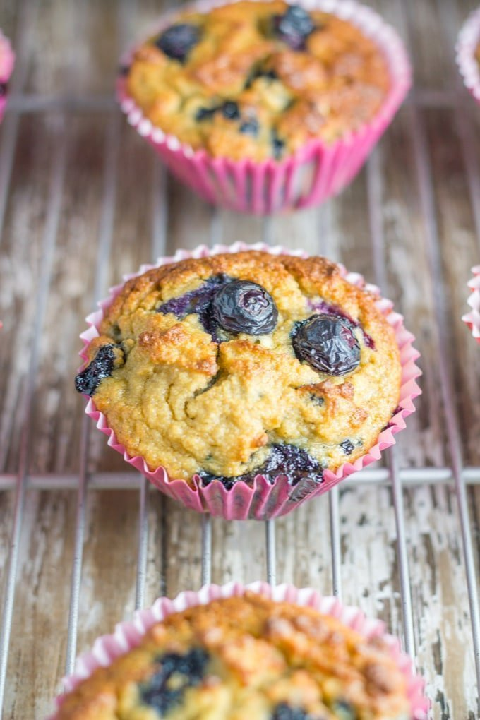 Blueberry Muffins. These easy to make gluten free muffins take around 10 minutes to prepare and 30 minutes to bake and they will make a great addition to your child's lunchbox. #muffins #glutenfree  #blueberry #healthy #baking | becomingness.com