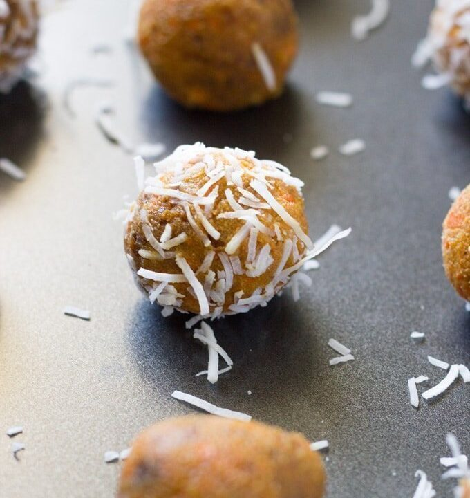 Raw Carrot Cake Bliss Balls. These bite-sized bliss balls are very tasty, not too sweet and so easy to make!