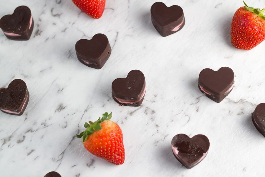 These Strawberry Chocolates are made with 5 ingredients and are gluten, dairy and refined sugar free