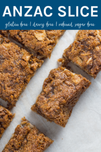 Anzac Slice is my adaptation of the popular biscuit. The result is a seriously tasty, chewy & super simple to make slice. Plus it is gluten, dairy and refined sugar free! YUM!