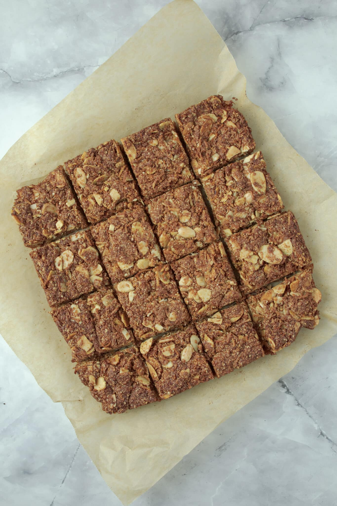 image of the Anzac slice, cut into squares
