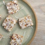 Nut Free Coconut & Date Bars. These bars which are gluten, dairy, nut and refined sugar free, contain four ingredients, which you process in your blender, food processor or Thermomix. Awesome lunchbox addition!