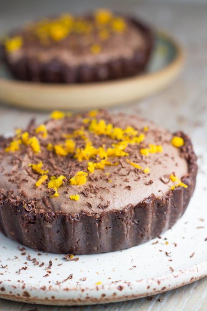 how the Raw Chocolate Orange Tart looks when made