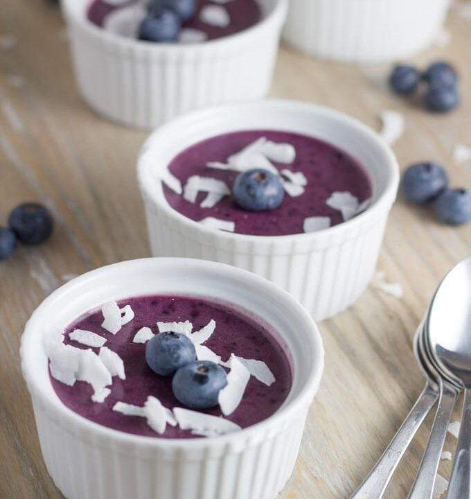 Blueberry mousse. Takes only 20 minutes to make and then 60 minutes to set. So, if you are looking for an easy to make dessert for guests, then you can't go passed this healthy and delicious dessert.