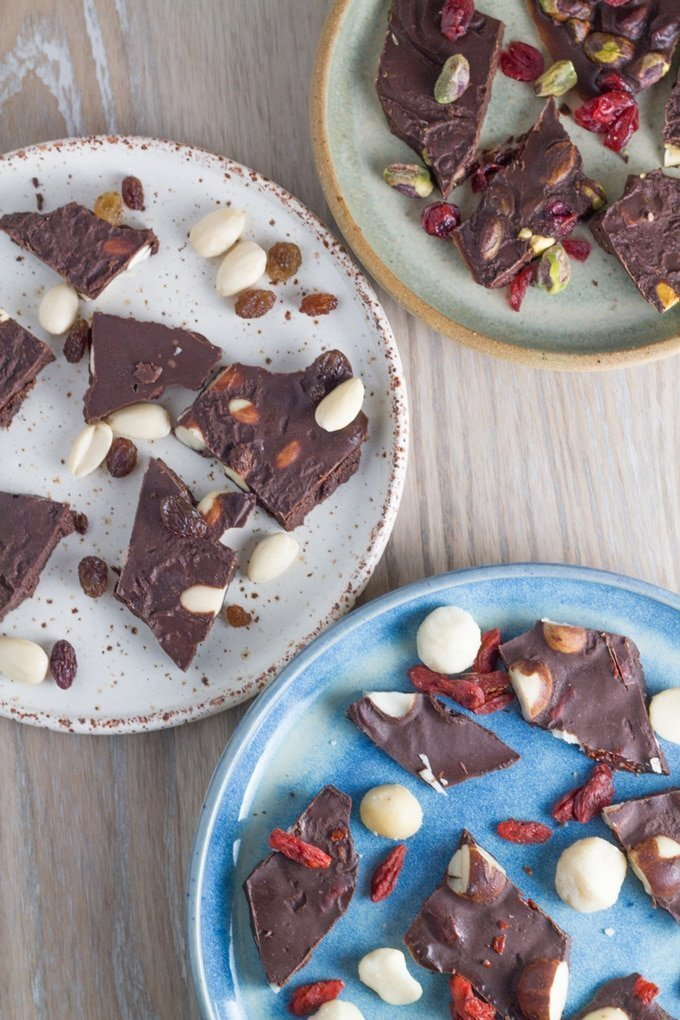 Fruit and Nut Chocolate Bark features three different fruit + nut combinations for you to try. YUM!