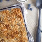 This Blueberry Crumble with Coconut Whipped Cream is gluten, dairy and refined sugar free. You can also make it nut free, by adding extra coconut flakes instead of the flaked almonds.