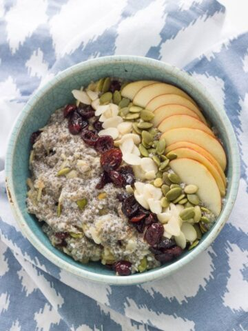 Gluten Free Chia Bircher Muesli. Will make an amazing addition to your breakfast menu. It is packed full of healthy ingredients, is really easy to make and tastes delicious