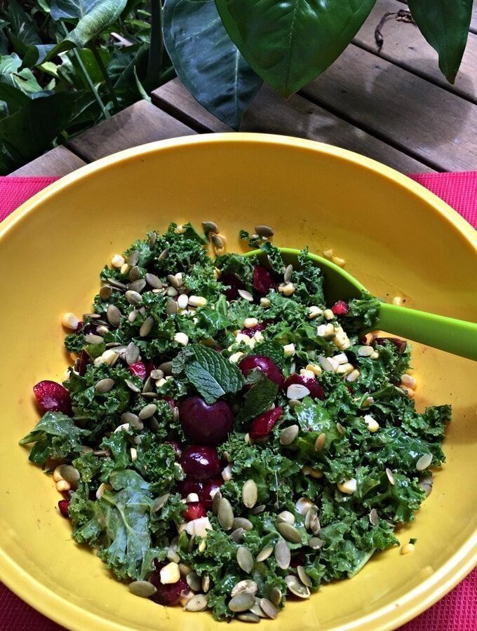 Christmas Recipe Countdown Day 21: Kale and Cherry Salad with a Mango-Mint Dressing