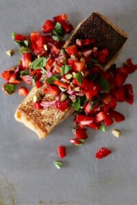 Crispy Skinned Salmon with Strawberry Pistachio Basil Salsa | Christmas Recipe | Amy Crawford