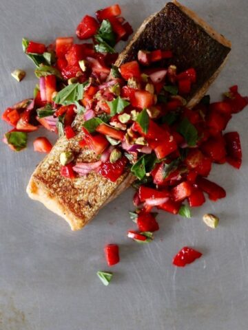 Crispy Skinned Salmon with Strawberry Pistachio Basil Salsa   Christmas Recipe   Amy Crawford