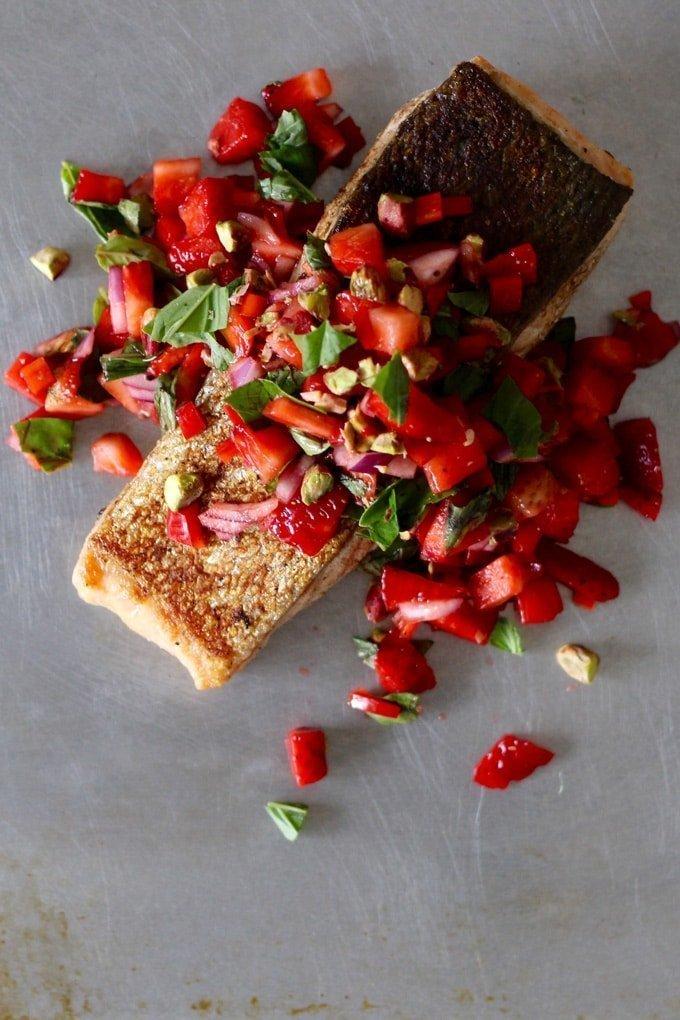 Crispy Skinned Salmon with Strawberry Pistachio Basil Salsa | Christmas Recipe | Amy Crawford