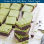 Raw Matcha Brownies. This gluten & dairy free dessert tastes as good as it looks! It is packed with lots of healthy goodness and is super easy to make.